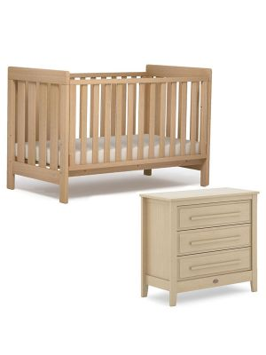 Boori Daintree Cot Bed V19 (with dropside) Almond + Breathable Mattress + Linear Chest Almond