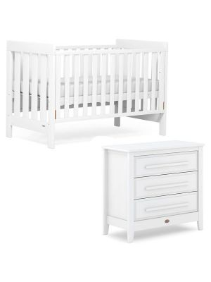 Boori Daintree Cot Bed V19 (with dropside) Barley + Breathable Mattress + Linear Chest Barley