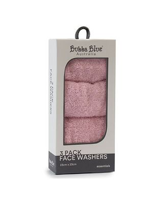 Bubba Blue Face Washers Pink 3pk