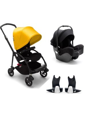 Bugaboo Bee 6 Complete Black Frame - Lemon Yellow TRAVEL SYSTEM (includes Turtle Car Seat & Adaptors)