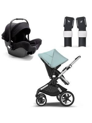 Bugaboo Fox 2 Pram Aluminium Chassis - MIX AND MATCH SPECIAL EDITION TRAVEL SYSTEM (Includes Turtle Car Seat & Adaptors) + BONUS Bugaboo Smartphone Holder and Bugaboo Breezy Seat Liner Black valued at $186