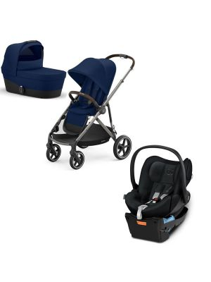 Cybex Gazelle S Pram + Carry Cot Taupe/ Navy Blue + Cybex Cloud Q Capsule with Base Stardust Black with BONUS snack tray valued at $104.99