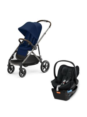 Cybex Gazelle S Pram Taupe/Navy Blue  + Cybex Cloud Q Capsule with Base Stardust Black with BONUS snack tray valued at $104.99