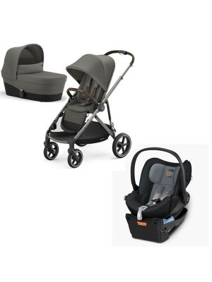 Cybex Gazelle S Pram Taupe/Soho Grey + Carry Cot Soho Grey + Cybex Cloud Q Capsule with Base Graphite Black with BONUS snack tray valued at $104.99