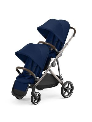 Cybex Gazelle S Pram + Second Seat Taupe/Navy Blue  with bonus snack tray valued at $104.99