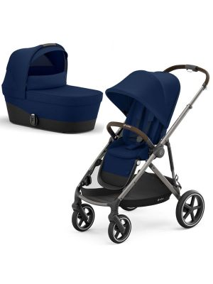 Cybex Gazelle S Pram Taupe/ Navy Blue + Carry Cot Navy Blue  with bonus snack tray valued at $104.99