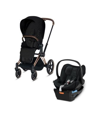 Cybex Priam 2020 Pram with Rose Gold Chassis & Stardust Black Seat + Cybex Cloud Q Capsule with BONUS cybex cup holder and insect net valued at $85