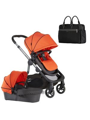 iCandy Orange Single Stroller with Flame Orange Canopies and Seat Liner + Orange The Bag Black - Online Only!