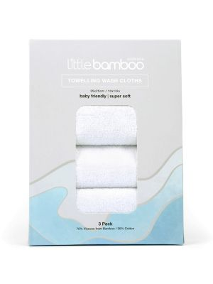 Little Bamboo Towelling Washer 3 pack