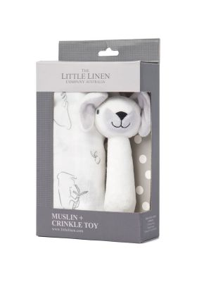 The Little Linen Company Muslin Wrap & Crinkle Toy Ivory Bunny