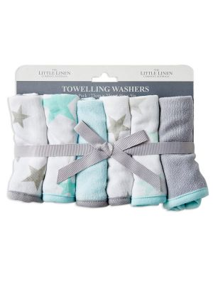 The Little Linen Company Towelling Washer 6pk Skydream Teal