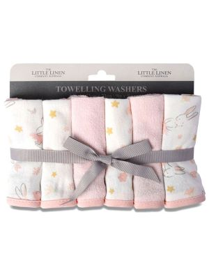The Little Linen Company Towelling Washer 6pk Ballerina Bunny