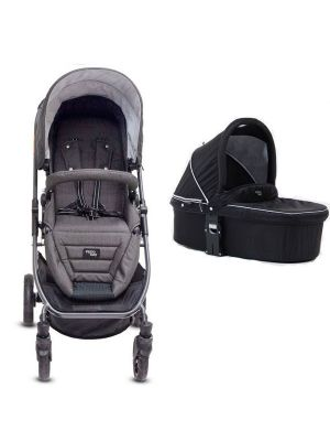 Valco Baby Snap Ultra Tailor Made Stroller Charcoal + Q Bassinet Midnight Black with BONUS SNACK TRAY-MIRROR MESH-UNIVERSAL CUP HOLDER VALUE $84.97